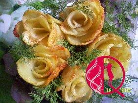 Kartofdan qızılgülün hazırlanması qaydası (foto resept)