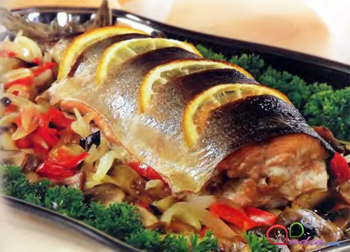 Baked Stuffed Trout With Sour Cream Cabbage